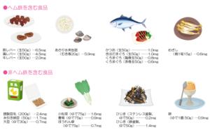 鉄分を多く含む食材